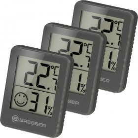 Гигрометр и термометр Bresser Temeo Hygro, набор 3 шт., серый модель 75689 от Bresser