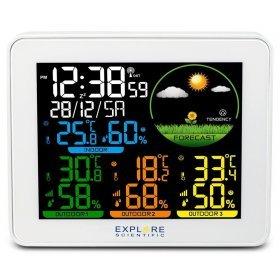 Метеостанция Explore Scientific с цветным экраном и тремя датчиками, белая модель 75910 от Explore Scientific
