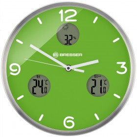 Часы настенные Bresser MyTime io NX Thermo/Hygro, 30 см, зеленые