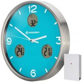 Часы настенные Bresser MyTime io NX Thermo/Hygro, 30 см, голубые модель 76463 от Bresser