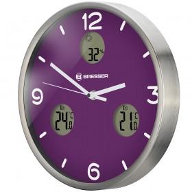Часы настенные Bresser MyTime io NX Thermo/Hygro, 30 см, фиолетовые