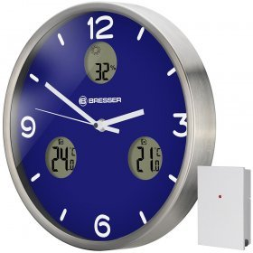 Часы настенные Bresser MyTime io NX Thermo/Hygro, 30 см, синие модель 76465 от Bresser