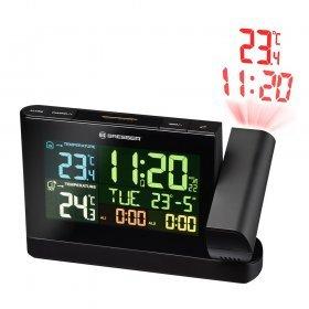 Часы проекционные Bresser с цветным дисплеем, черные