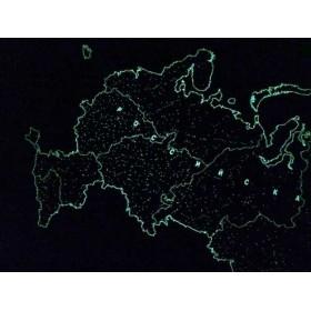 Карта Российской Федерации, светящаяся в темноте, настенная, сувенирное издание, в тубусе