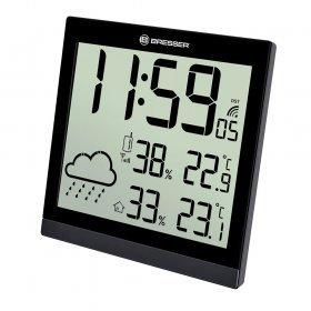 Метеостанция (настенные часы) Bresser TemeoTrend JC LCD с радиоуправлением, черная модель 73267 от Bresser