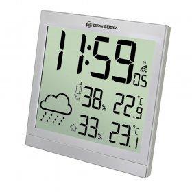 Метеостанция (настенные часы) Bresser TemeoTrend JC LCD с радиоуправлением, серебристая модель 73269 от Bresser